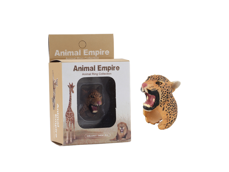 Leopard ring toy animal ring toys zoo promotion toy for kids