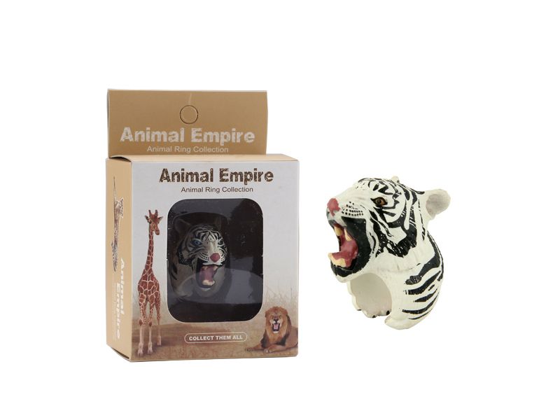 animal White tiger ring toy zoo promotion toy for kids