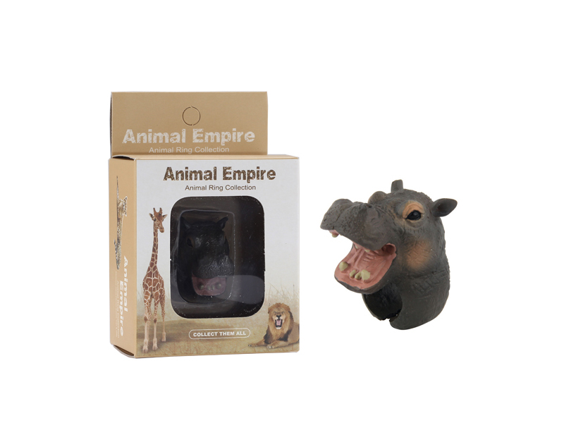animal Hippo ring toy zoo promotion toy for kids