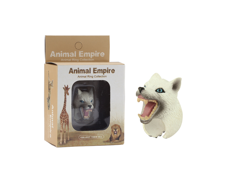 animal Arctic wolf ring toy zoo promotion toy for kids