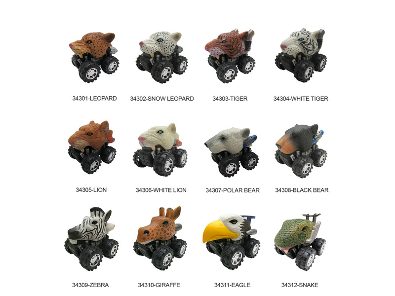 Wild animal car toy pull back truck toy friction animal vehicles.