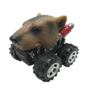 Pull back grizzly bear toy car plastic animal