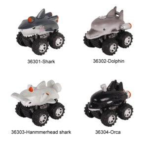 Aquarium toy pull back truck toy friction animal vehicles.