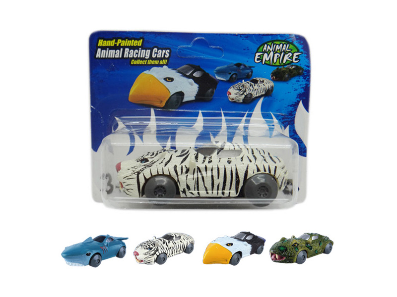 Friction tiger toy friction power car animal racing sports car