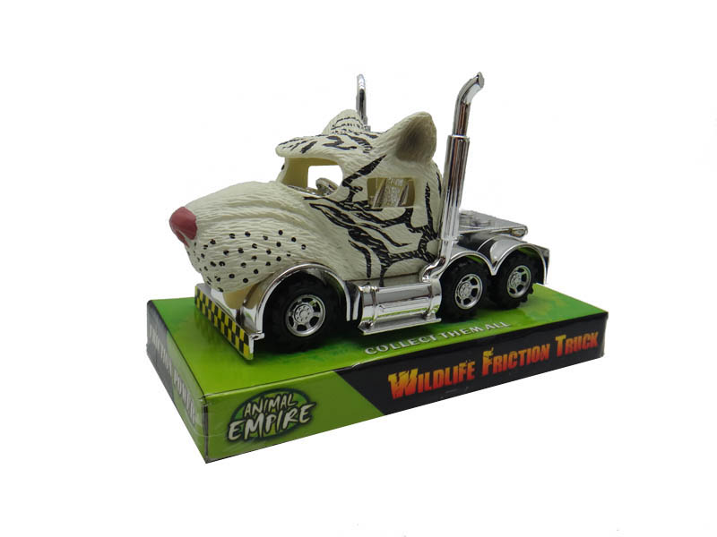 White tiger truck toy friction truck toy animal