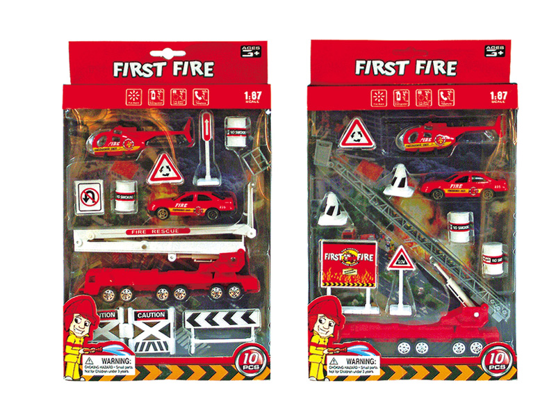 Fire fighting set diecast toy free wheel car