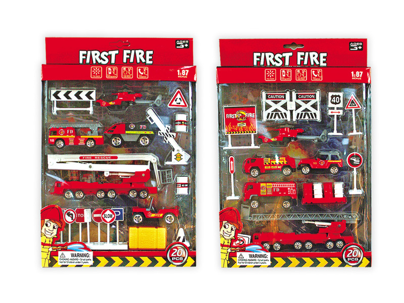 Fire engine set diecast toy free wheel toy