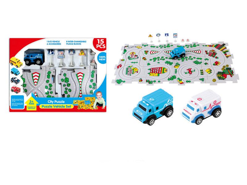Puzzle block vehicle track car B/O toy