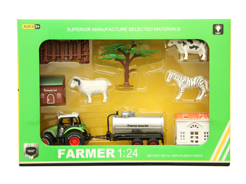 Pull back toy metal vehicle farmer car