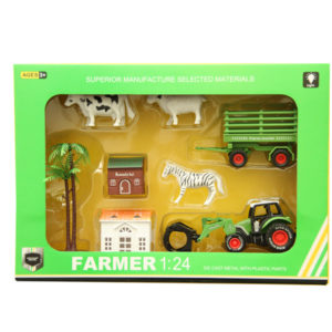 Pull back toy metal car farmer set toy with light and music