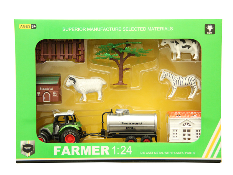 Diecast toy farmer set car toy with light and music