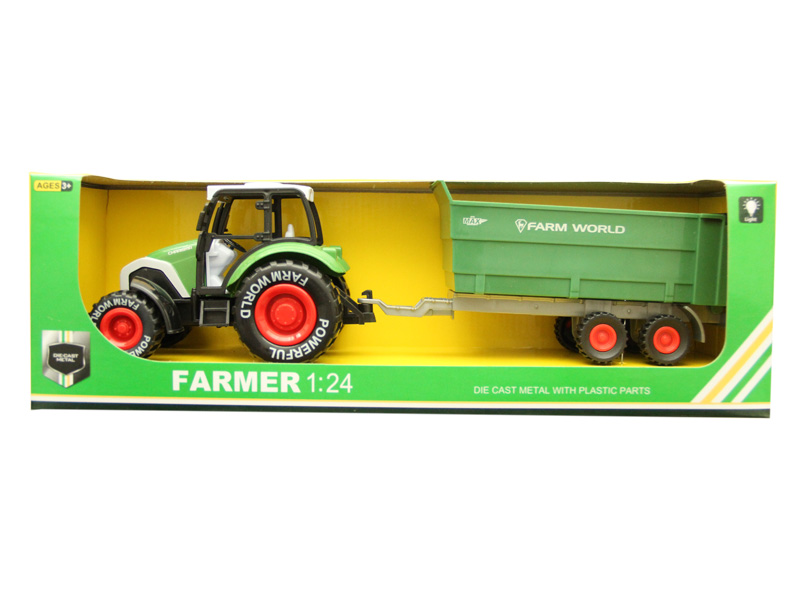 Metal tractor farmer car toy pull back tractor