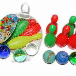 Bowling set toy glass marbles bowling game with glass marbles