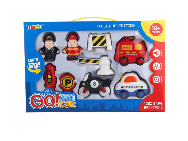Vehicle set toy cars friction car with light and music