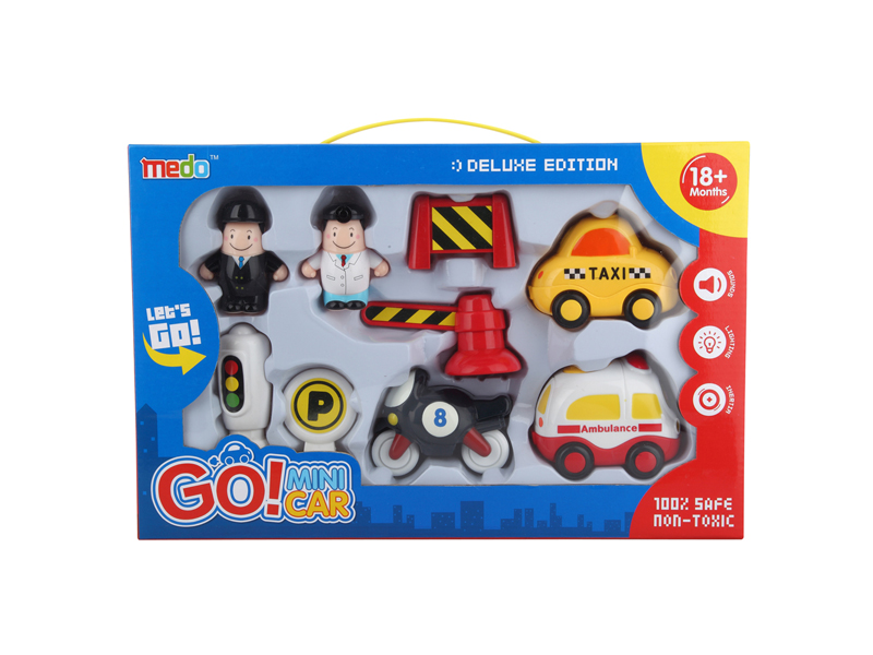 Friction cars toy set mini vehicle with light and music