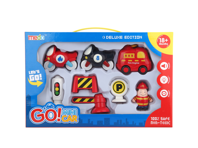 Friction car mini vehicle toy set with light and music