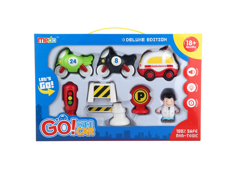 Toy car vehicle set friction car with light and music