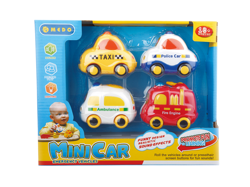 Toys car cartoon set freewheel toy with light and music