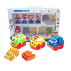 Block car cartoon vehicle friction power toy
