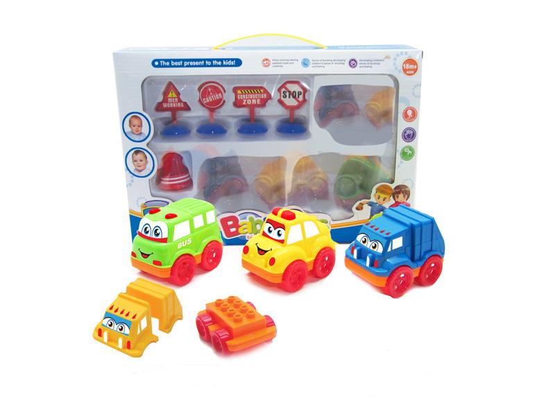 Block car cartoon vehicle friction power toy