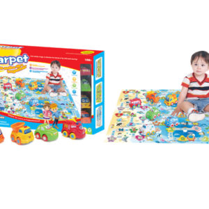 Engineering toy cartoon vehicle toy set with carpet