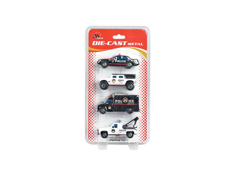 Diecast vehicle toy police car metal car set