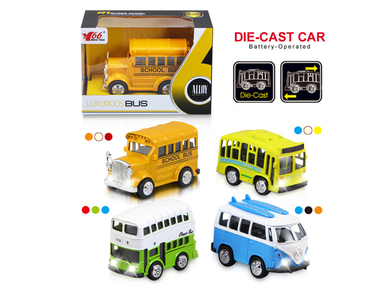 school bus toy diecast vehicle pull back bus with music and light