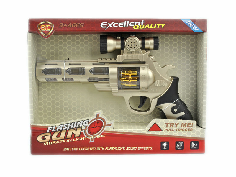 Battery option gun lighting toy outdoor toy with IC