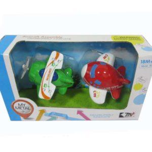 Diecast plane cartoon vehicle toy set