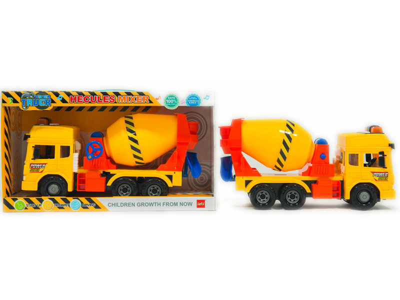 Friction power car mixer truck vehicle toy with light and sound