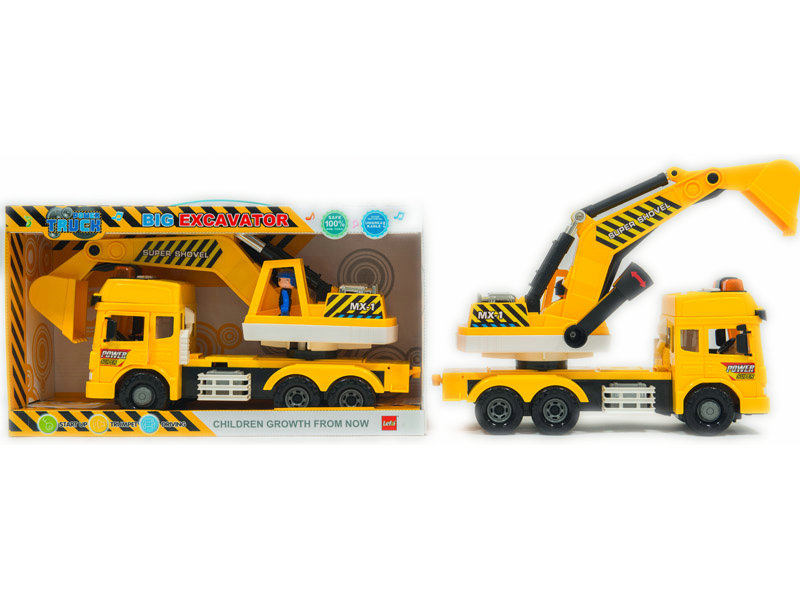 Excavator toy friction power car toy vehicle with light and sound