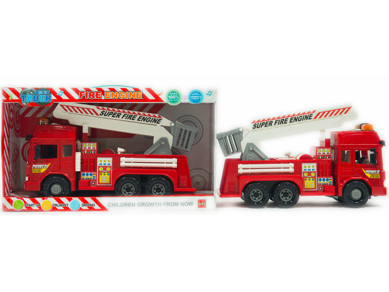 Friction power car fire engine toy vehicle with light and sound