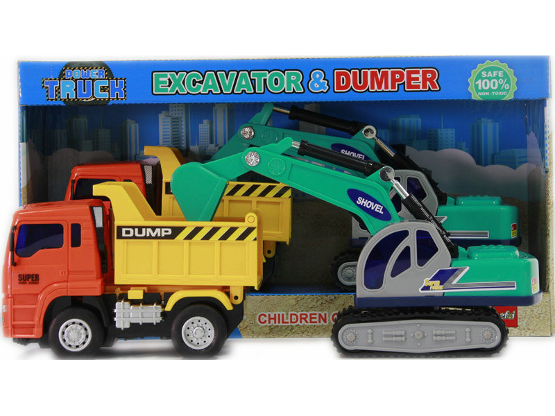Excavator friction power toy dump car