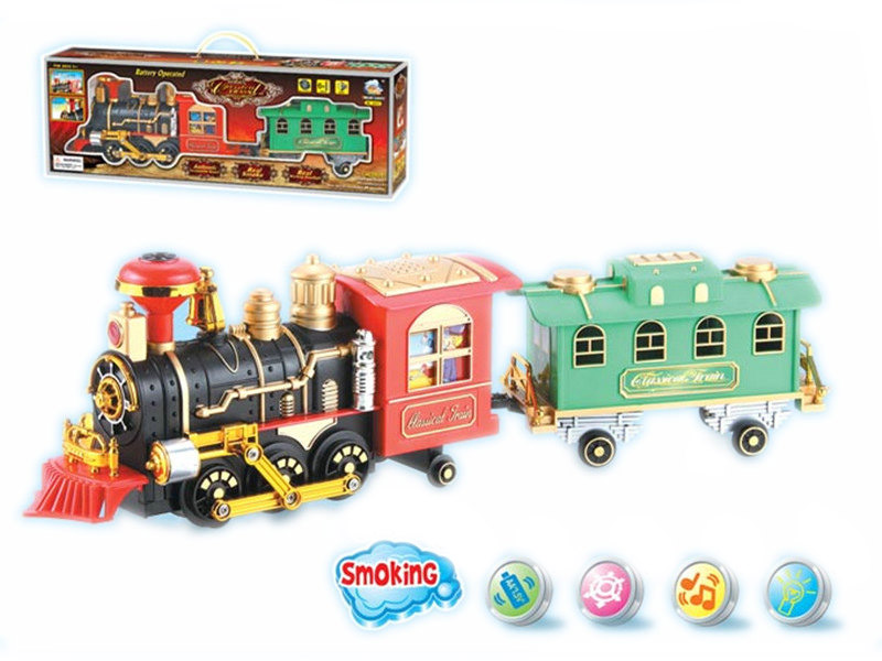 Battery operate train electric toy train toy with smoke