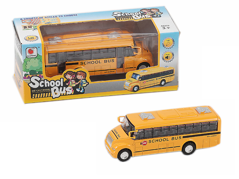 pull back school bus metal bus toy car with music and light