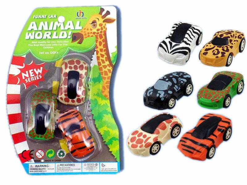 Animal car toy pull back car plastic toy
