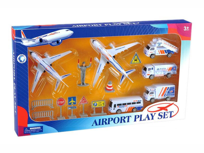 Friction plane toy airport play set small toy plane