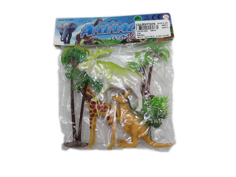 Animal toy with tree wild animal world Toy animal set
