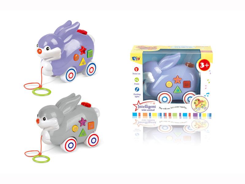 B/O rabbit toy pull along animal toy cartoon rabbit with music