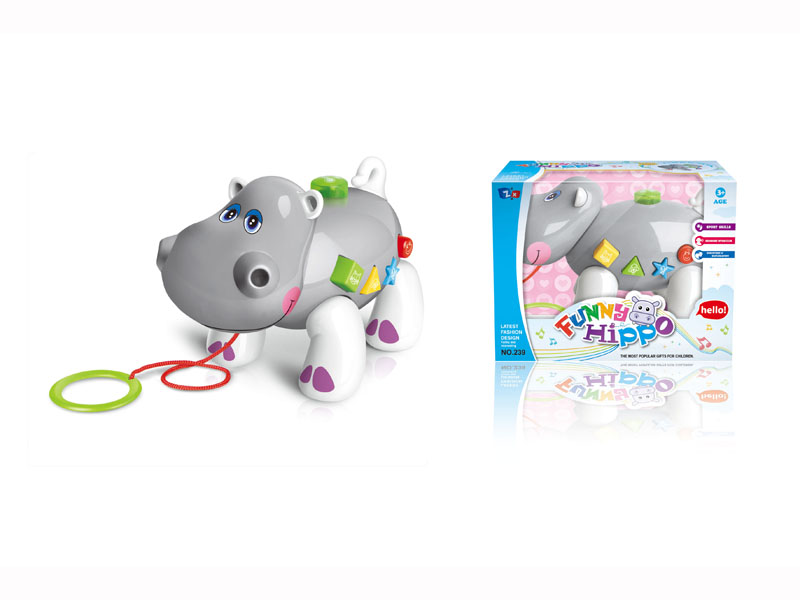 B/O hippo toy pull-push animal toy cartoon hippo with music