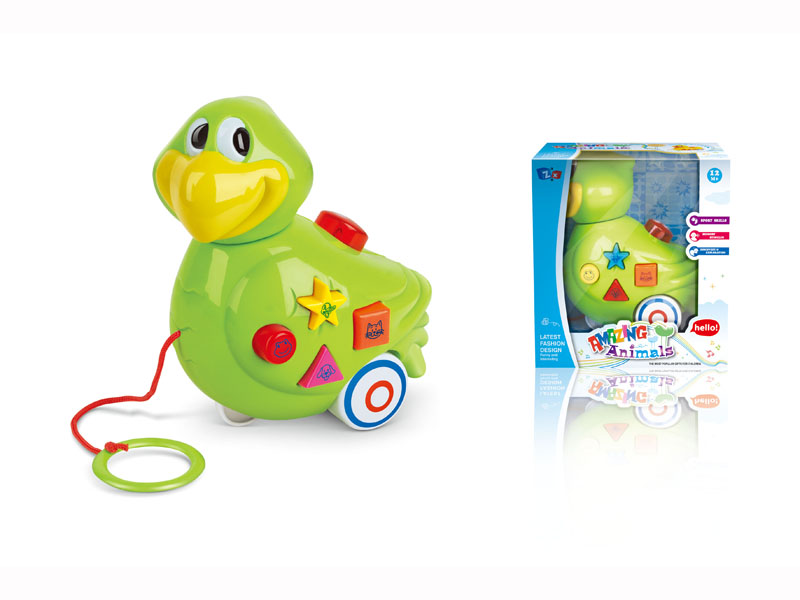B/O pull-push parrot cartoon animals with music musical toy