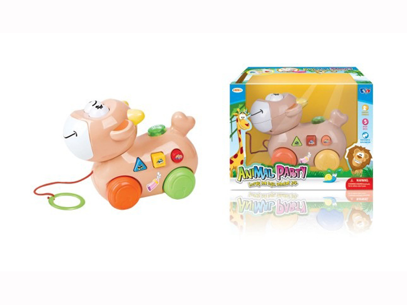 B/O pull along cow toy cartoon animals with music musical toy