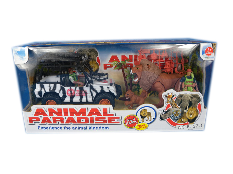 Animal paradise toy animal toy with car animal rescue set