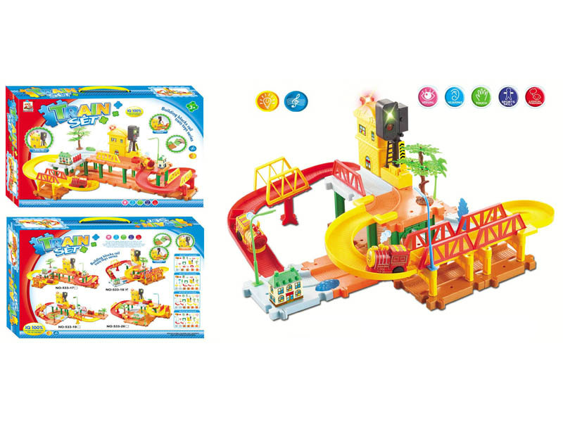 Electric track toy block train toy Intelligent toy