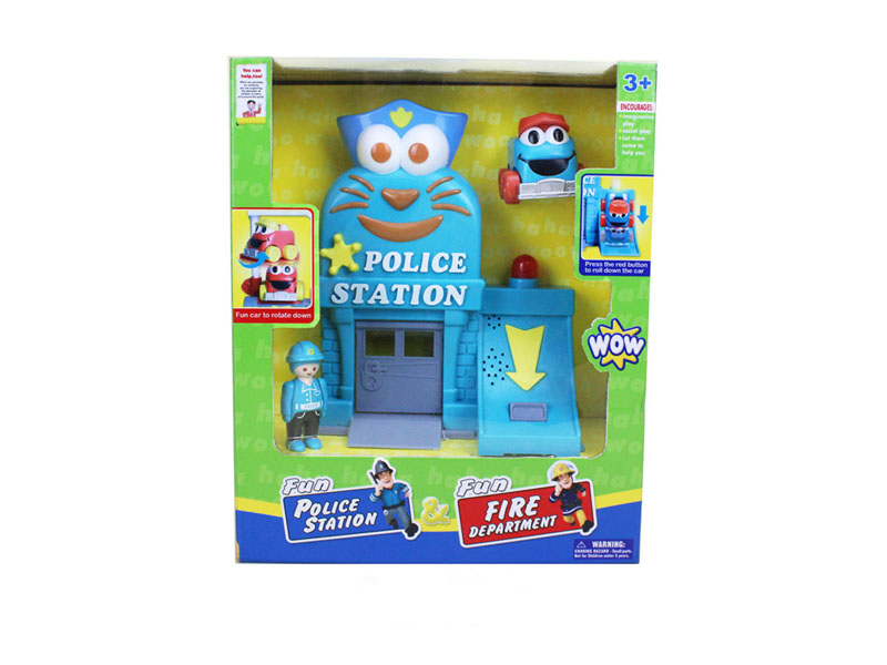 Police station toy model toy with light and music funny toy