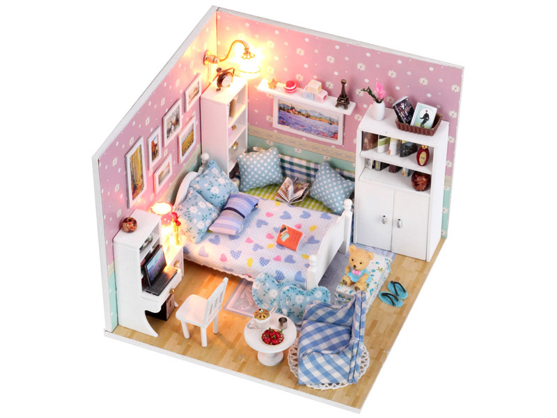 Doll house toy simulation house model wooden toy