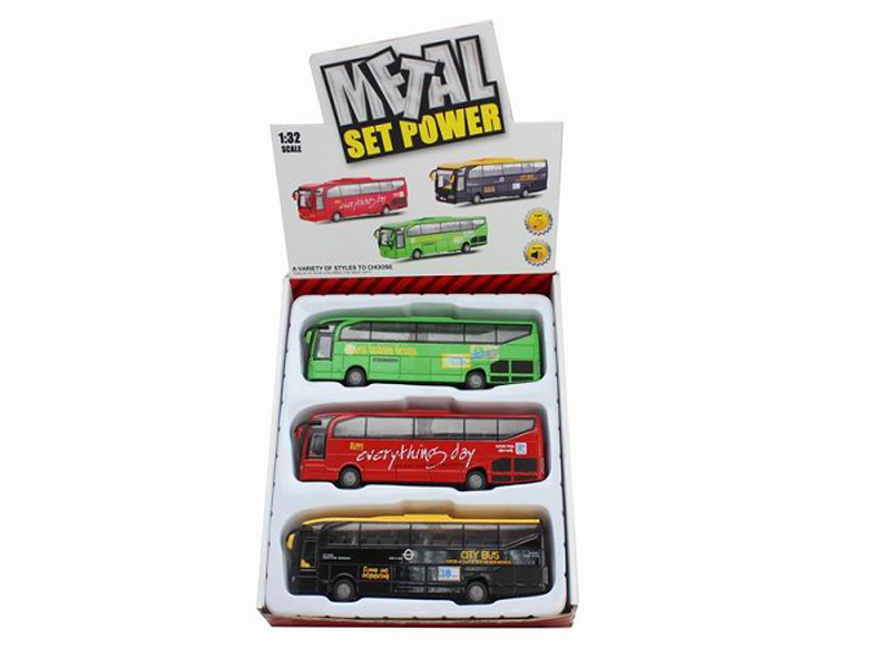 lighting bus metal vehicle cute toy
