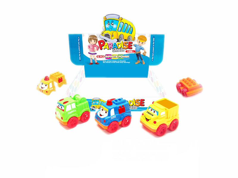 cartoon car toy brick toy friction power toy