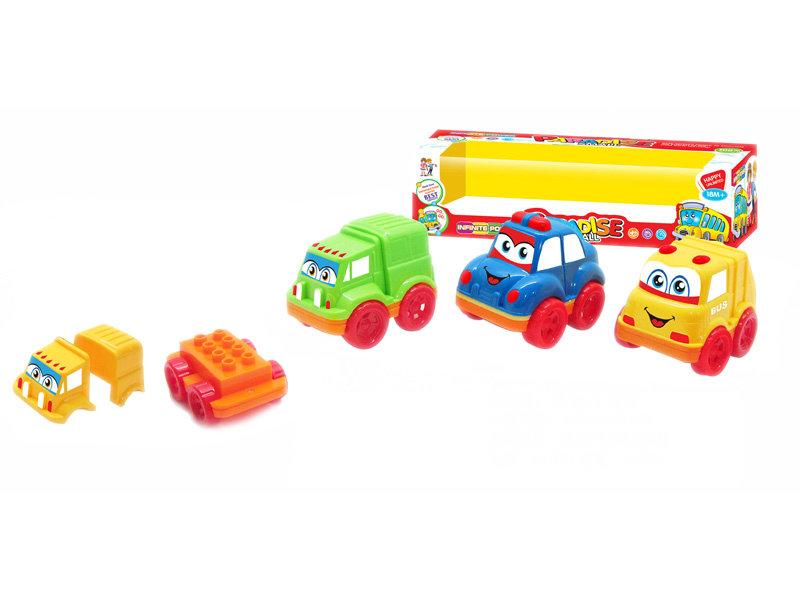 brick vehicle toy cartoon car plastic toy