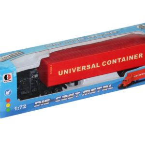 red container truck metal vehicle free wheel toy